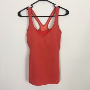 Lucy Red-Orange Built in Bra Workout Tank Top
